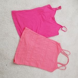 Coral and pink tank tops